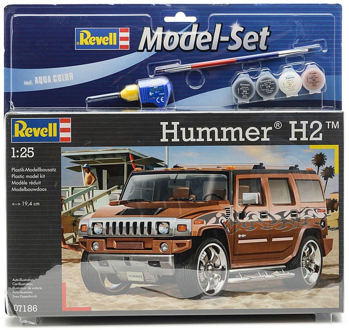 Revell Набор для сборки и раскрашивания модели Автомобиль Hummer H267186Набор для сборки и раскрашивания модели Revell Автомобиль Hummer H2 поможет вам и вашему ребенку познакомиться с моделизмом и своими руками создать уменьшенную копию одноименного автомобиля. Гражданская версия военного внедорожника выпускалась с 2002 по 2009 год, в том числе в Калининграде. На данный момент серийное производство свернуто. Набор включает в себя 87 пластиковых элементов для сборки модели, краски 4 цветов (прозрачный 01, матовый темно-серый 378, медный металлик 93 и матовый черный 302), клей, двустороннюю кисточку и схематичную инструкцию по сборке. Благодаря набору ваш ребенок научится различать цвета, творчески решать поставленные задачи, разовьет интеллектуальные и инструментальные способности, воображение, конструктивное мышление, внимание, терпение и кругозор. Уровень сложности: 3.