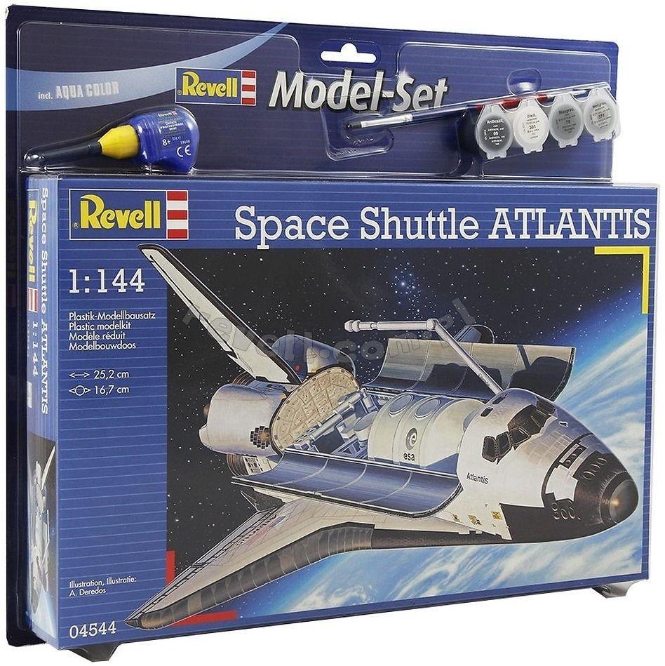 Revell Набор для сборки и раскрашивания Космический корабль Atlantis64544Подарочный набор с моделью космического шаттла Atlantis. Помимо сборной моделью из пластка в комплект включены базовые краски, кисточка и клей. Четвертый из серии космических транспортных кораблей NASA. Строительство корабля началось в 1980 году, а через 5 лет он совершил свой первый полет. Всего Atlantis совершил 33 вылета. Последний полет был осуществлен 8 июля 2011 года. Сейчас шаттл находится в космическом центре им. Кеннеди на мысе Канаверал. Масштаб: 1:144 Количество деталей: 64 Длина модели: 252 мм Размах крыльев: 167 мм В комплект входят клей, базовые краски и кисточка.