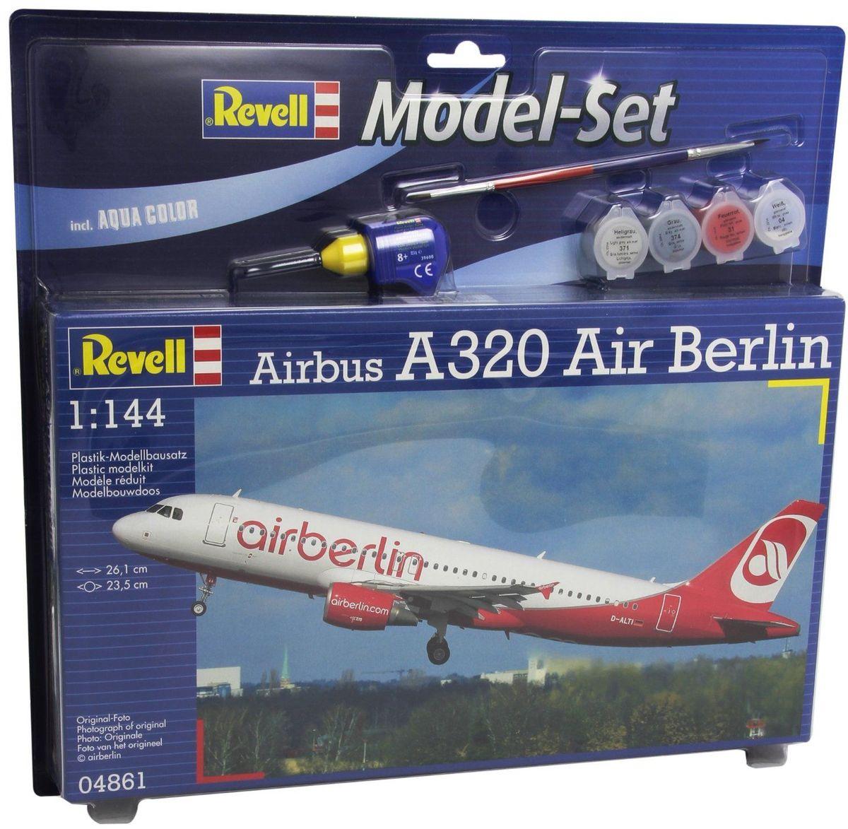 Revell Набор для сборки и раскрашивания Самолет пассажирский Airbus A320 Air Berlin64861Сборная модель Revell Пассажирский самолет Airbus A320 Air Berlin поможет вам и вашему ребенку придумать увлекательное занятие на долгое время. Airbus A320-200 представляет собой экономичный среднемагистральный пассажирский лайнер. В стандартной конфигурации самолет способен перевозить до 150 пассажиров. С октября 2005 года Airbus A320 является основным самолетом в парке авиакомпании Air Berlin. Данный тип лайнеров используется в основном на европейских маршрутах компании. Набор включает в себя 60 пластиковых элементов, из которых можно собрать достоверную уменьшенную копию одноименного самолета. Помимо самой модели в набор входят базовые акриловые краски, клей и кисточки. Этих материалов вполне хватит для сбора первой стендовой модели. Из инструментов вам понадобятся лишь кусачки, для того чтобы отделить детали с литников. Краски из набора можно разбавлять обычной водой или фирменным растворителем Revell. Уровень сложности: 3. Длина собранной...