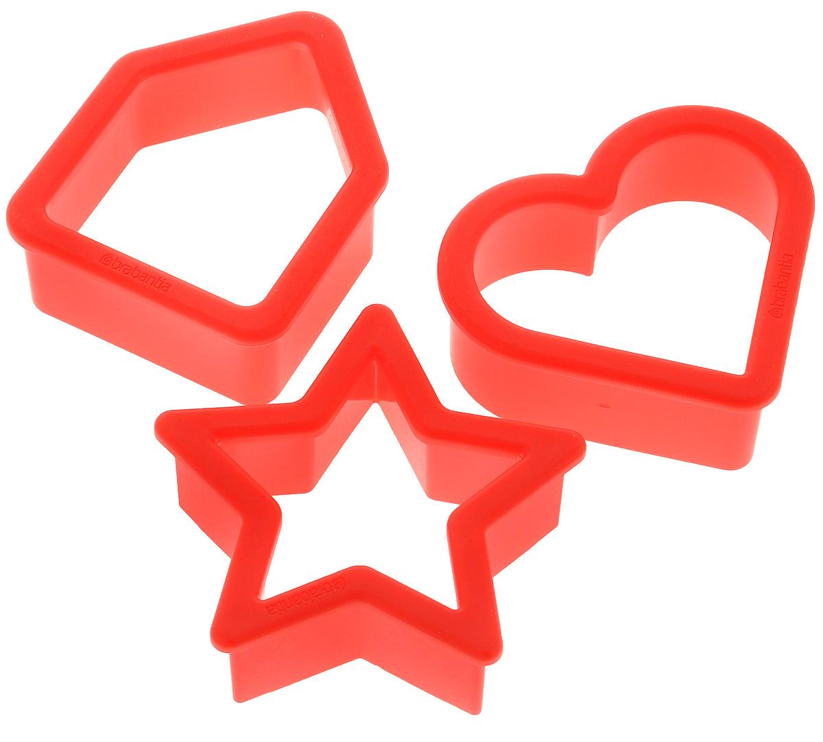 Набор формочек для печенья Brabantia, цвет: красный, 3 шт105227Набор Brabantia состоит из трех форм для вырезания фигурного печенья, изготовленных из высококачественного пластика. Формы выполнены в виде сердца, домика и звезды. Если вы любите побаловать своих домашних вкусным и ароматным печеньем по вашему оригинальному рецепту, то формы для вырезания печенья как раз то, что вам нужно! Размер формочки в виде сердца: 5,8 см х 5 см х 2,2 см. Размер формочки в виде домика: 5,7 см х 4,5 см х 2,2 см. Размер формочки в виде звезды: 5,8 см х 5,5 см х 2,2 см.