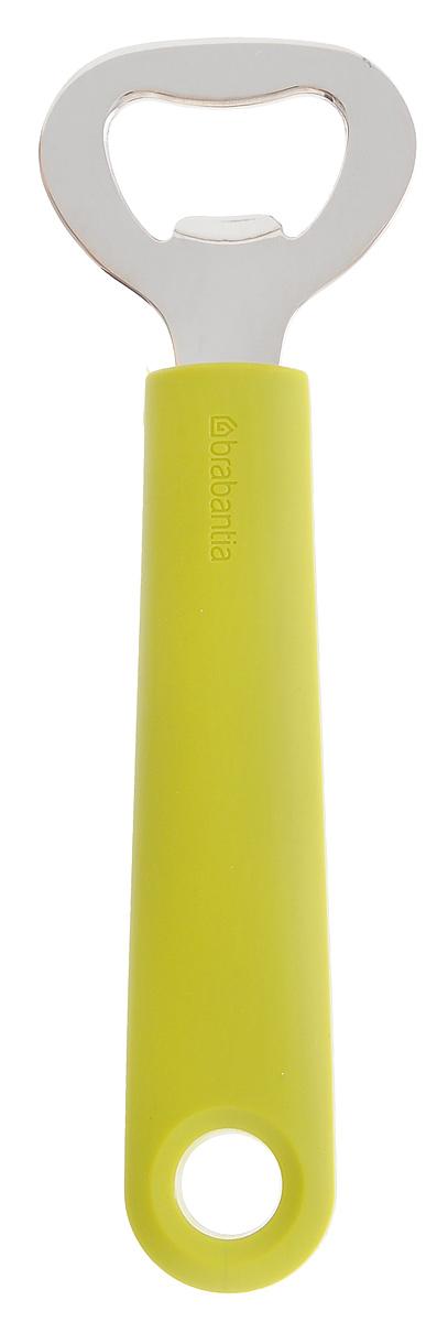 Открывалка для бутылок Brabantia, цвет: оливковый, 15,5 см106521Открывалка Brabantia, изготовленная из качественной стали, поможет вам без особых усилий открыть любую бутылку. Ручка изделия выполнена из прочного пластика и оснащена небольшой петелькой, за которую открывалку можно подвесить в любом удобном для вас месте. Практичная и удобная открывалка для бутылок Brabantia займет достойное место среди аксессуаров на вашей кухне. Можно мыть в посудомоечной машине.