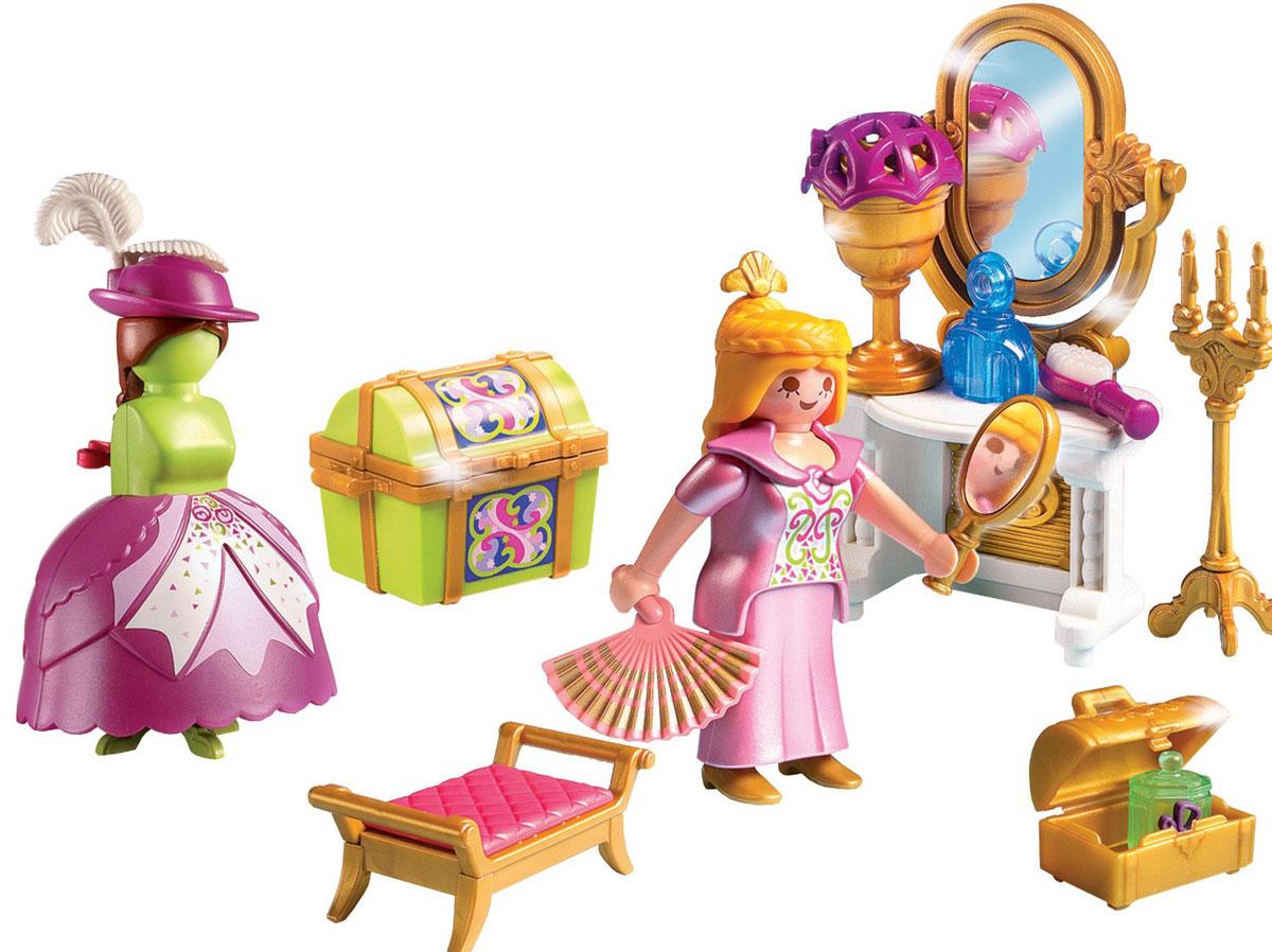Playmobil Игровой набор Сказочный дворец Королевская гардеробная комната5148pmИгровой набор Playmobil Сказочный дворец: Королевская гардеробная комната - идеальный набор для маленьких модниц. Играя с набором от Playmobil, они будут подбирать наряд для королевы, обдумывать аксессуары и готовить королеву к походу на бал. В комплект входит: фигурка королевы, тумбочка с зеркалом, большой сундук, сундучок, манекен, напольный подсвечник, веер, флакончик парфюма, подсвечник, зеркальце и другие предметы. Игровые наборы Playmobil развивают у ребенка моторику пальчиков, а также внимание и логику. Играя в фигурки и аксессуары, малыш самостоятельно учится придумывать сюжет, у него развивается зрительное восприятие действительности, воображение, формируются творческие способности.
