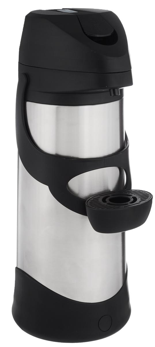 """Термос Emsa """"Presto"""", с пневмонасосом, цвет: серебристый, черный, 3 л 500833"""