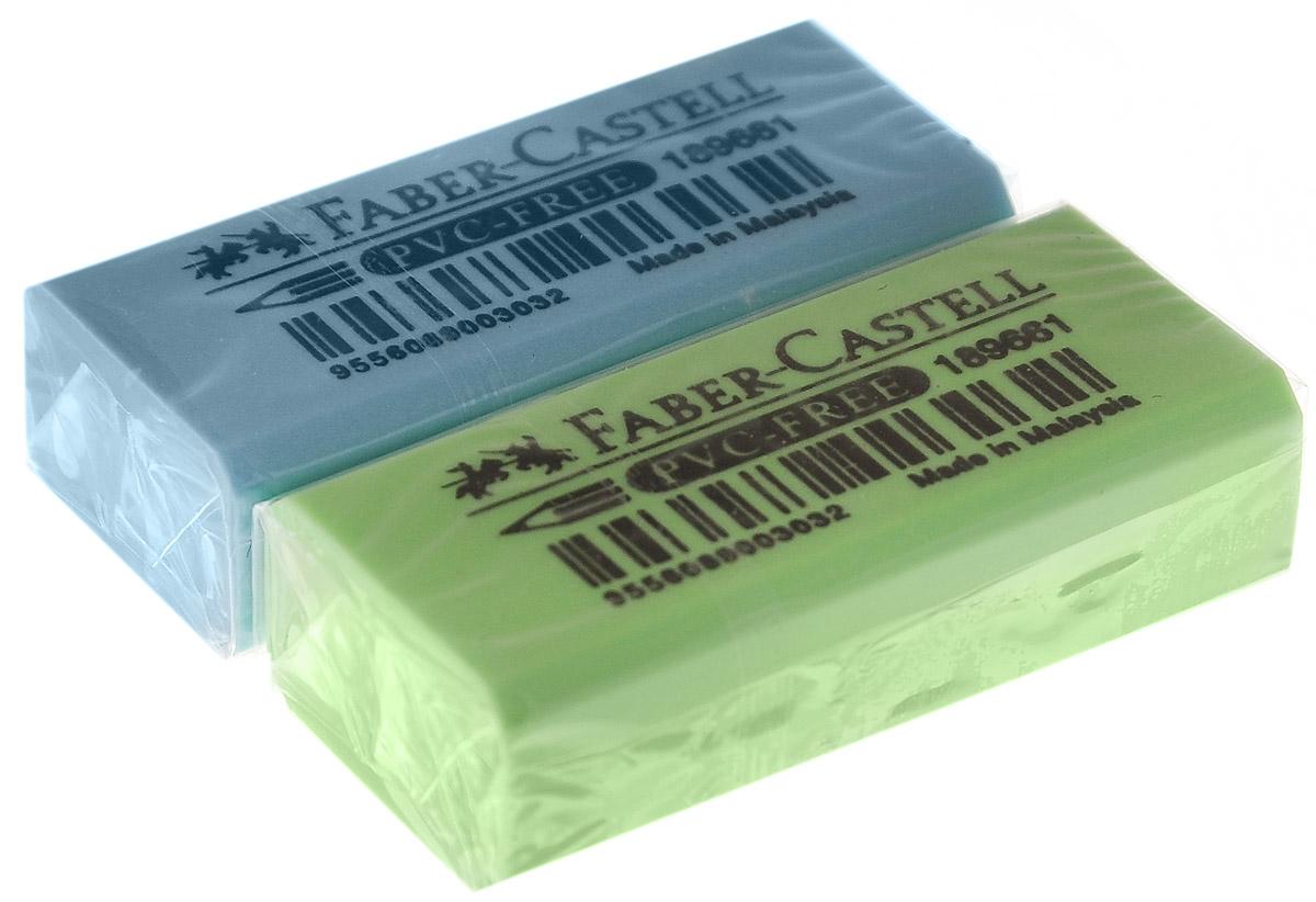 Faber-Castell Ластик флуоресцентный цвет салатовый голубой 2 шт