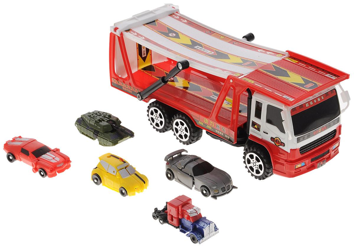 Junfa Toys Игровой набор Автовоз и 5 машинок-трансформеров цвет автовоза красныйHX8000B_красныйИгровой набор Автовоз непременно станет любимой игрушкой вашего малыша. В набор входит грузовой автовоз с прицепом и пять машинок-трансформеров разных моделей и цветов. Маленькие машинки легко трансформируются в оригинальных роботов. У автовоза поднимается и наклоняется прицеп, чтобы машинкам было удобнее въезжать на него. Игрушки изготовлены из металла и высококачественного пластика. Ваш ребенок будет часами играть с этим набором, придумывая различные истории. Порадуйте его таким замечательным подарком!