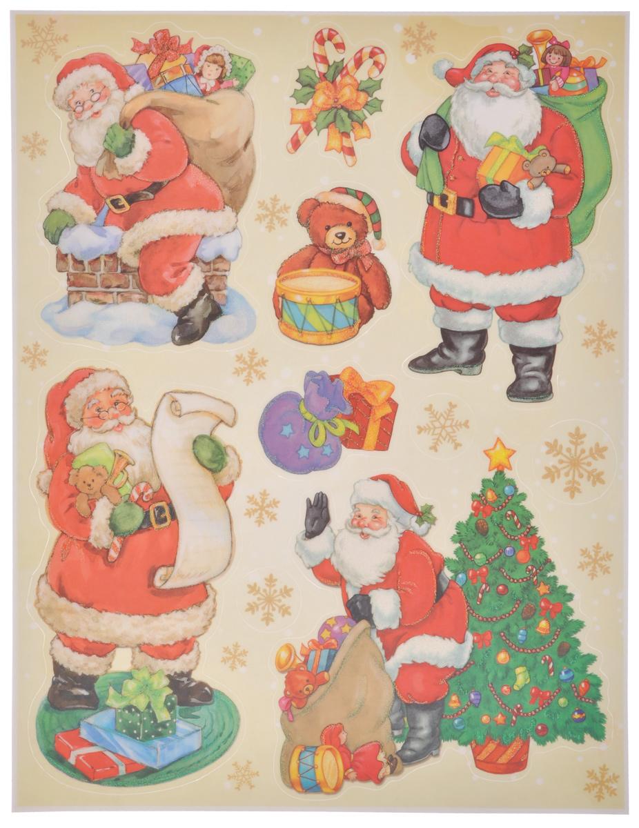 Новогоднее оконное украшение Lunten Ranta Дед Мороз и компания. 65919_265919_2Новогоднее оконное украшение Lunten Ranta Дед Мороз и компания поможет украсить дом к предстоящим праздникам. На одном листе расположены наклейки в виде Деда Мороза, подарков, снежинок, декорированных блестками. Наклейки изготовлены из ПВХ. С помощью этих украшений вы сможете оживить интерьер по своему вкусу, наклеить их на окно, на зеркало или на дверь. Новогодние украшения всегда несут в себе волшебство и красоту праздника. Создайте в своем доме атмосферу тепла, веселья и радости, украшая его всей семьей. Размер листа: 37,5 см х 29 см. Размер самой большой наклейки: 16,5 см х 16 см. Размер самой маленькой наклейки: 3 см х 3 см.