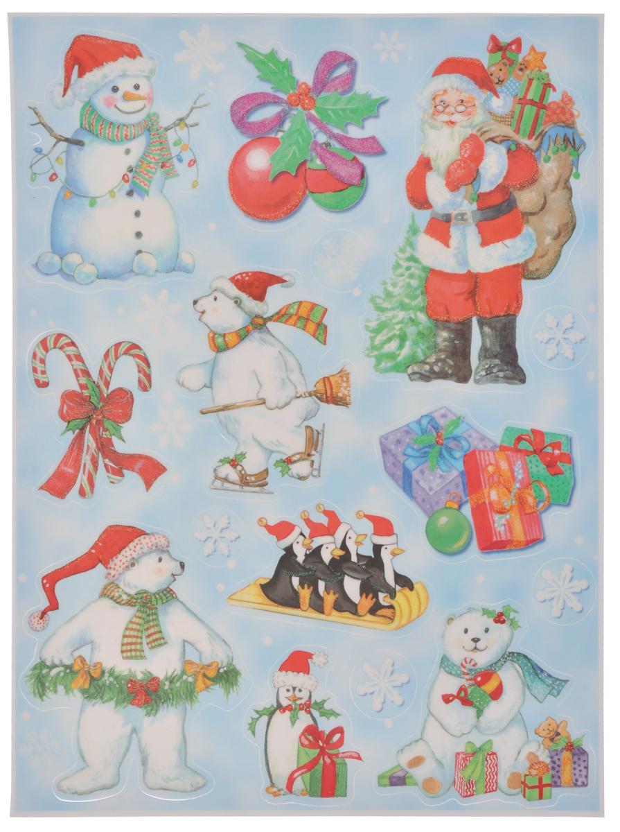 Новогоднее оконное украшение Lunten Ranta Дед Мороз и компания65919_1Новогоднее оконное украшение Lunten Ranta Дед Мороз и компания поможет украсить дом к предстоящим праздникам. На одном листе расположены наклейки в виде Деда Мороза, снеговика, елочных шаров, медведей, декорированных блестками. Наклейки изготовлены из ПВХ. С помощью этих украшений вы сможете оживить интерьер по своему вкусу, наклеить их на окно, на зеркало или на дверь. Новогодние украшения всегда несут в себе волшебство и красоту праздника. Создайте в своем доме атмосферу тепла, веселья и радости, украшая его всей семьей. Размер листа: 37,5 см х 29 см. Размер самой большой наклейки: 17 см х 11,5 см. Размер самой маленькой наклейки: 3 см х 3 см.