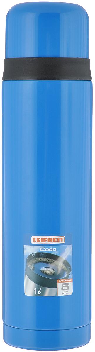 Термос Leifheit Coco, цвет: синий, черный, 1 л28528Простая и гармоничная форма термоса Leifheit Coco, выполненного из высококачественной стали, удовлетворит желания любого потребителя. Термос оснащен клапаном и поворотной крышкой, которую можно использовать в качестве стакана. Благодаря корпусу с двойными стенками термос сохранит ваши напитки горячими или холодными надолго. Диаметр горлышка термоса: 5 см. Диаметр крышки: 8 см. Высота термоса (с учетом крышки): 30 см.
