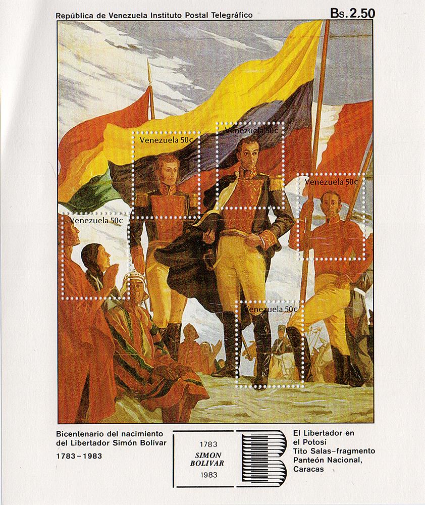Малый лист Симон Боливар. Венесуэла, 1983 год324006Малый лист Симон Боливар. Венесуэла, 1983 год. Размер листа: 15.5 х 13 см. Размер марок: 2.5 х 2 см. Сохранность хорошая.