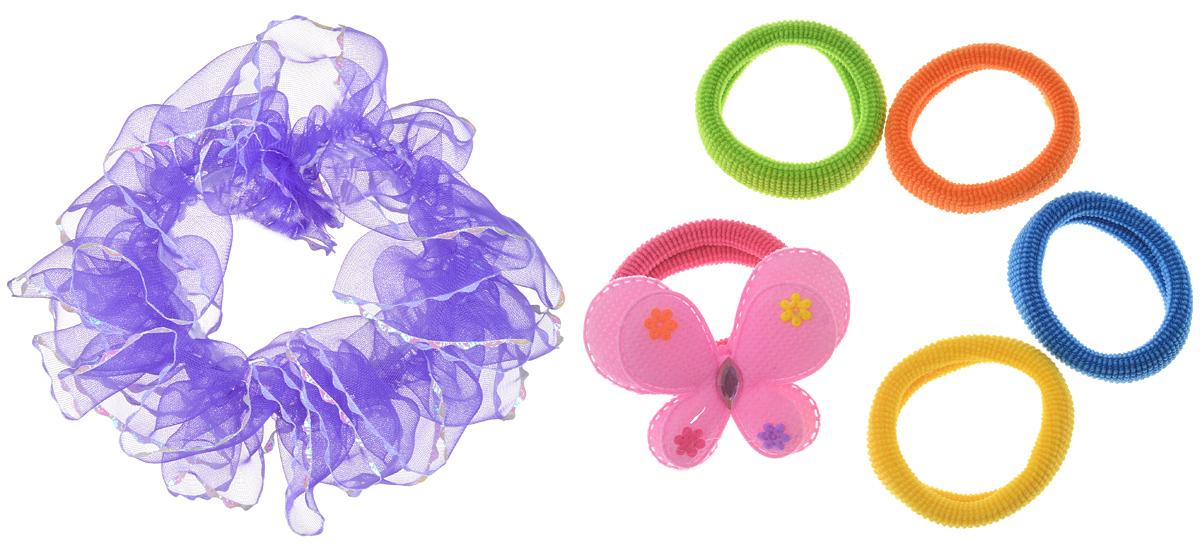Набор резинок для волос Fashion House, цвет: мультиколор, 6 шт. FH30847FH30847Резинки для волос Fashion House станут отличным дополнением к прическе вашей малышки. В набор входят шесть разных текстильных резинок: одна - зеленого цвета, одна - синего цвета, одна - оранжевого цвета, одна - желтого цвета, одна - малинового цвета оформлена оригинальной текстильной бабочкой, одна - фиолетового цвета выполнена из органзы. Резиночки хорошо тянутся и прекрасно держат волосы. Диаметр резинок: 3 и 5 см.