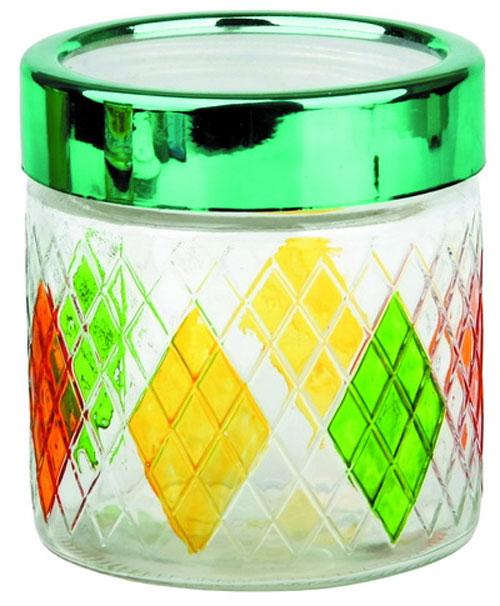 Банка для сыпучих продуктов Bohmann Ромбы, цвет: прозрачный, оранжевый, зеленый, 850 мл01336BHGNEWБанка Bohmann Ромбы изготовлена из стекла. Емкость снабжена пластиковой крышкой, которая плотно закрывается, дольше сохраняя аромат и свежесть содержимого. Банка подходит для хранения сыпучих продуктов: круп, специй, сахара, соли. Такая банка станет полезным приобретением и пригодится на любой кухне. Диаметр (по верхнему краю): 10,5 см. Высота (без учета крышки): 12 см.