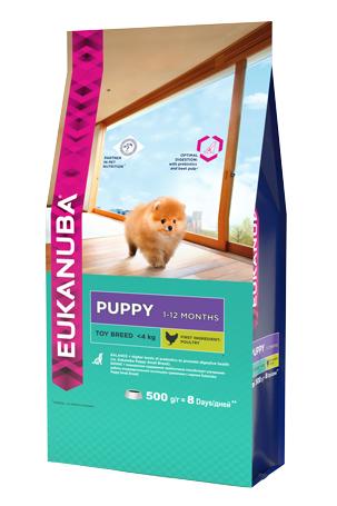 Корм Eukanuba Dog для щенков миниатюрных пород 500 г10135708Корм сухой полнорационный Eukanuba для щенков миниатюрных пород от 1 до 12 месяцев (до 4 кг). Профессиональное сбалансированное питание, специально разработанное с учетом особенностей щенков миниатюрных пород в возрасте от 1 до 12 месяцев. 1. БАЛАНС+ Повышенное содержание пребиотиков способствует улучшению работы пищеварительной системы (по сравнению с EUKANUBA® Puppy Small Breed). 2. РОСТ Кальций, эффективность которого клинически доказана, способствует укреплению костей. 3. РАЗВИТИЕ Докозагексаеновая кислота (ДГК), эффективность которой клинически доказана, помогает щенкам становиться более смышлеными и способными к обучению и дрессировке. 4. ЗАЩИТА Антиоксиданты способствуют поддержанию естественной защиты организма щенков.