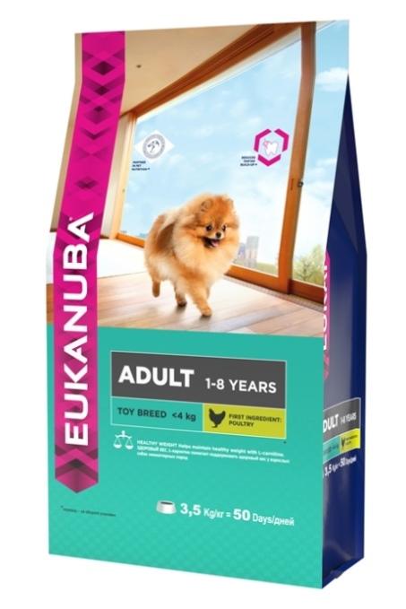 Корм Eukanuba Dog для взрослых собак миниатюрных пород 3,5 кг10135714Корм сухой полнорационный Eukanuba для взрослых собак миниатюрных пород от 1 до 8 лет (до 4 кг). Профессиональное сбалансированное питание, специально разработанное с учетом особенностей собак миниатюрных пород в возрасте от 1 до 8 лет. 1. ЗДОРОВЫЙ ВЕС L-карнитин помогает поддерживать здоровый вес у взрослых собак миниатюрных пород. 2. БАЛАНС+ Повышенное содержание пребиотиков способствует улучшению работы пищеварительной системы (по сравнению с EUKANUBA® Adult Small Breed). 3. ЗУБЫ Клинически доказанная эффективность в борьбе с образованием зубного камня за 28 дней. Сокращает образование зубного налета и поддерживает здоровый блеск. 4. БЛЕСК Поддерживает здоровье кожи и красоту шерсти собак при помощи оптимального соотношения жирных кислот омега-3 и омега-6, эффективность которого доказана клинически. Условия хранения: в прохладном темном месте