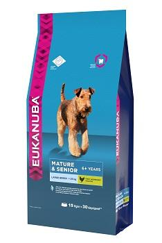 Корм Eukanuba Dog для пожилых собак крупных пород 15 кг10137538Корм сухой полнорационный Eukanuba для собак крупных и очень крупных пород старше 6 лет (более 25 кг). Профессиональное сбалансированное питание, специально разработанное с учетом особенностей собак крупных и очень крупных пород в возрасте старше 6 лет. 1. ПОДВИЖНОСТЬ Оптимальный уровень белка и жира для снижения нагрузки на суставы для зрелых и пожилых собак. 2. ЖИЗНЕННАЯ ЭНЕРГИЯ Способствует поддержанию естественной защиты организма пожилых собак, благодаря оптимальному уровню содержания бета-каротина и витамина Е. 3. КОСТИ Клинически доказанная эффективность в укреплении костей при помощи кальция. 4. ЗУБЫ Клинически доказанная эффективность в борьбе с образованием зубного камня за 28 дней. Сокращает образование зубного налета и поддерживает здоровый блеск. Условия хранения: в прохладном темном месте