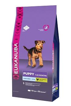 Корм Eukanuba Dog для щенков крупных пород 15 кг10137548Корм сухой полнорационный Eukanuba для щенков крупных и очень крупных пород от 1 до 24 месяцев (более 25 кг). Профессиональное сбалансированное питание, специально разработанное с учетом особенностей щенков крупных и очень крупных пород в возрасте от 1 до 24 месяцев. 1. КРЕПКИЕ КОСТИ Способствует оптимальному формированию суставов и костей у щенков крупных пород. 2. РОСТ Способствует здоровому развитию суставов и крепких костей за счет оптимального уровня кальция и фосфора, эффективность которых клинически доказана. 3. РАЗВИТИЕ Докозагексаеновая кислота (ДГК), эффективность которой клинически доказана, помогает щенкам становиться более смышлеными и способными к обучению и дрессировке. 4. ЗАЩИТА Антиоксиданты способствуют поддержанию естественной защиты организма щенков. Условия хранения: в прохладном темном месте