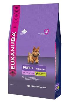 Корм Eukanuba Dog для щенков мелких пород 10 кг10137702Корм сухой полнорационный Eukanuba для щенков мелких пород от 1 до 12 месяцев (до 10 кг). Профессиональное сбалансированное питание, специально разработанное с учетом особенностей щенков мелких пород в возрасте от 1 до 12 месяцев. 1. ФИЗИЧЕСКАЯ ФОРМА Высокий уровень животных белков помогает формировать и поддерживать мышечную массу у щенков. 2. РОСТ Кальций, эффективность которого клинически доказана, способствует укреплению костей. 3. РАЗВИТИЕ Докозагексаеновая кислота (ДГК), эффективность которой клинически доказана, помогает щенкам становиться более смышлеными и способными к обучению и дрессировке. 4. ЗАЩИТА Антиоксиданты способствуют поддержанию естественной защиты организма щенков. Условия хранения: в прохладном темном месте
