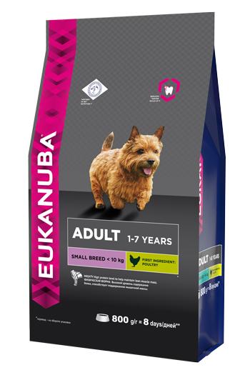 Корм Eukanuba Dog для взрослых собак мелких пород 800 г10137704Корм сухой полнорационный Eukanuba для взрослых собак мелких пород от 1 до 7 лет (до 10 кг). Профессиональное сбалансированное питание, специально разработанное с учетом особенностей собак мелких пород в возрасте от 1 до 7 лет. 1. ФИЗИЧЕСКАЯ ФОРМА Высокий уровень содержания белка способствует поддержанию мышечной массы. 2. ЗУБЫ Клинически доказанная эффективность в борьбе с образованием зубного камня за дней. Сокращает образование зубного налета и поддерживает здоровый блеск. 3. ЗАЩИТА Способствует поддержанию естественной защиты организма собак при помощи антиоксидантов, эффективность которых доказана клинически. 4. БЛЕСК Поддерживает здоровье кожи и красоту шерсти собак при помощи оптимального соотношения жирных кислот омега-3 и омега-6, эффективность которого доказана клинически. Условия хранения: в прохладном темном месте