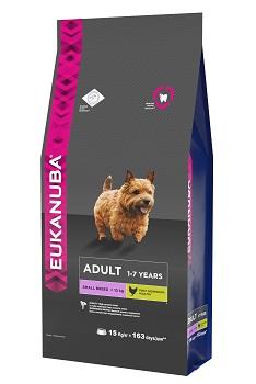 Корм Eukanuba Dog для взрослых собак мелких пород 15 кг10137708Корм сухой полнорационный Eukanuba для взрослых собак мелких пород от 1 до 7 лет (до 10 кг). Профессиональное сбалансированное питание, специально разработанное с учетом особенностей собак мелких пород в возрасте от 1 до 7 лет. 1. ФИЗИЧЕСКАЯ ФОРМА Высокий уровень содержания белка способствует поддержанию мышечной массы. 2. ЗУБЫ Клинически доказанная эффективность в борьбе с образованием зубного камня за дней. Сокращает образование зубного налета и поддерживает здоровый блеск. 3. ЗАЩИТА Способствует поддержанию естественной защиты организма собак при помощи антиоксидантов, эффективность которых доказана клинически. 4. БЛЕСК Поддерживает здоровье кожи и красоту шерсти собак при помощи оптимального соотношения жирных кислот омега-3 и омега-6, эффективность которого доказана клинически. Условия хранения: в прохладном темном месте