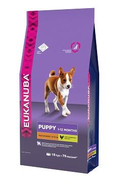 Корм Eukanuba Dog для щенков средних пород 15 кг10137713Корм сухой полнорационный Eukanuba для щенков средних пород от 1 до 12 месяцев (10 кг -25 кг). Профессиональное сбалансированное питание, специально разработанное с учетом особенностей щенков средних пород в возрасте от 1 до 12 месяцев. 1. РОСТ Кальций, эффективность которого клинически доказана, способствует укреплению костей. 2. РАЗВИТИЕ Докозагексаеновая кислота (ДГК), эффективность которой клинически доказана, помогает щенкам становиться более смышлеными и способными к обучению и дрессировке. 3. ЗАЩИТА Антиоксиданты способствуют поддержанию естественной защиты организма щенков. 4. БАЛАНС Пребиотики и сухая пульпа сахарной свеклы способствуют оптимальному пищеварению. Условия хранения: в прохладном темном месте