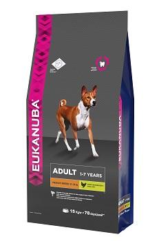 Корм Eukanuba Dog для взрослых собак средних пород 15 кг10137716Корм сухой полнорационный Eukanuba для взрослых собак средних пород от 1 до 7 лет (10 кг -25 кг). Профессиональное сбалансированное питание, специально разработанное с учетом особенностей собак средних пород в возрасте от 1 до 7 лет. 1. СИЛА Клинически доказанная эффективность в поддержке сухих мышц при помощи животных белков. 2. ЗУБЫ Клинически доказанная эффективность в борьбе с образованием зубного камня за 28 дней. Сокращает образование зубного налета и поддерживает здоровый блеск. 3. ЗАЩИТА Способствует поддержанию естественной защиты организма собак при помощи антиоксидантов, эффективность которых доказана клинически. 4. БЛЕСК Поддерживает здоровье кожи и красоту шерсти собак при помощи оптимального соотношения жирных кислот омега-3 и омега-6, эффективность которого доказана клинически. Условия хранения: в прохладном темном месте