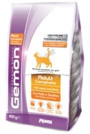 Корм Gemon Cat для взрослых кошек с курицей и индейкой 400 г70297004Полнорационное питание для кошек от 1 до 10 лет. Оптимальное соотношение жирных кислот омега-3 и омега-6 улучшает здоровье кожи и шерсти. ФОС и МОС регулируют баланс кишечной бактериальной флоры животного и обеспечивают правильную работу пищеварительной системы. Хорошо усваиваемая формула корма содержит Юкку Шидигера, которая помогает уменьшить запах фекалий. Низкое содержание магния и нейтральный Ph обеспечивают профилактику мочекаменных заболеваний. Не содержит искусственных красителей и консервантов. Условия хранения: в прохладном темном месте