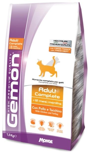 Корм Gemon Cat для взрослых кошек с курицей и индейкой 1,5 кг70297011Полнорационное питание для кошек от 1 до 10 лет. Оптимальное соотношение жирных кислот омега-3 и омега-6 улучшает здоровье кожи и шерсти. ФОС и МОС регулируют баланс кишечной бактериальной флоры животного и обеспечивают правильную работу пищеварительной системы. Хорошо усваиваемая формула корма содержит Юкку Шидигера, которая помогает уменьшить запах фекалий. Низкое содержание магния и нейтральный Ph обеспечивают профилактику мочекаменных заболеваний. Не содержит искусственных красителей и консервантов. Условия хранения: в прохладном темном месте