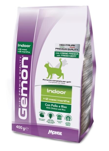 Корм Gemon Cat Indoor для домашних кошек с курицей и рисом 400 г70297097Gemon Cat Indoor корм для домашних кошек с курицей и рисом. Полнорационное питание идеально подходит для взрослых домашних кошек, которым для поддержания формы требуется специальное диетическое питание. Оптимальное соотношение жирных кислот Омега-6 и Омега-3 способствует сокращению воспаления и противодействует аллергическим реакциям и необходимо для поддержания здоровья кожи и блестящей шерсти. Также содержит экстракт юкки Шидигера, которая способствует снижению газообразованию в кишечнике и уменьшает запах продуктов жизнедеятельности.