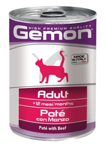 Консервы Gemon Cat для кошек паштет говядина 400 г70299961Сырой белок 8,5%, сырые масла и жиры 6,0%, сырая клетчатка 0,4%, сырая зола 1,5%, влажность 80%. Витамины и добавки/кг: витамин А 2500 МЕ, витамин D3 250 МЕ, витамин Е (альфа-токоферол ацетат) 10 мг. Мясо и мясные субпродукты 80% (из них говядины мин. 10%), минеральные вещества. Технологические добавки: загустители и желеобразующие компоненты. Подавать корм комнатной температуры или подогретый. Важно, чтобы животное всегда имело доступ к чистой, свежей воде. Взрослой кошке необходимо 400 г продукта в день, суточную норму разделить на 2-3 приема пищи.