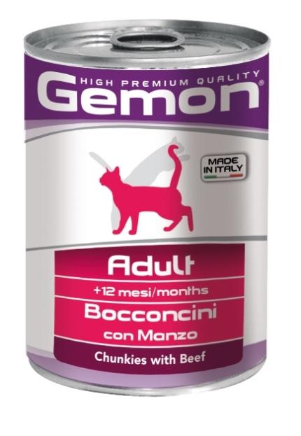 Консервы Gemon Cat для кошек кусочки говядины 415 г70300704Сырой белок 8,5%, сырые масла и жиры 6,0%, сырая клетчатка 0,5%, сырая зола 2,7%, влажность 80%. Витамины и добавки/кг: витамин А 1200 МЕ, витамин D3 160 МЕ, витамин Е (альфа-токоферол ацетат) 5 мг.Мясо и мясные субпродукты 45% (говядины 5%), злаки, яйца, минеральные вещества. Технологические добавки: загустители и желеобразующие компоненты.Мясо и мясные субпродукты 45% (говядины 5%), злаки, яйца, минеральные вещества. Технологические добавки: загустители и желеобразующие компоненты. Подавать корм комнатной температуры или подогретый. Важно, чтобы животное всегда имело доступ к чистой, свежей воде. Взрослой кошке необходимо 400 г продукта в день, суточную норму разделить на 2-3 приема пищи.