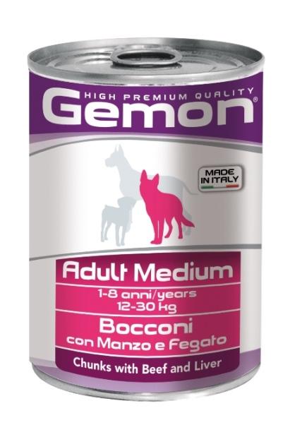 Консервы Gemon Dog Medium для собак средних пород кусочки говядины с печенью 415 г70387859Гарантированный анализ: Сырой белок 8,5%, сырые масла и жиры 6,0%, сырая клетчатка 0,5%, сырая зола 2,7%, влажность 80%. Витамины и добавки/кг: витамин А 2500 МЕ, витамин D3 250 МЕ, витамин Е (альфа-токоферол ацетат) 10 мг. Мясо и мясные субпродукты 45% (говядина 5%, печень 5%), злаки, яйца, минеральные вещества. Технологические добавки: загустители и желеобразующие компоненты. Подавать корм комнатной температуры или подогретый. Важно, чтобы животное всегда имело доступ к чистой, свежей воде. Взрослой кошке необходимо 400 г продукта в день, суточную норму разделить на 2-3 приема пищи. Условия хранения: в прохладном темном месте