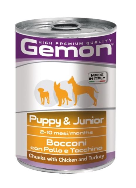 Консервы Gemon Dog для щенков кусочки курицы с индейкой 415 г70387866Гарантированный анализ: Сырой белок 8,0%, сырые масла и жиры 7,0%, сырая клетчатка 0,5%, сырая зола 2,0%, влажность 80%. Витамины и добавки/кг: витамин А 3000 МЕ, витамин D3 200 МЕ, витамин Е (альфа-токоферол ацетат) 6 мг.Мясо и мясные субпродукты 45% (курица 14%, индейка 12%), злаки, яйца, минеральные вещества. Технологические добавки: загустители и желеобразующие компоненты. Подавать корм комнатной температуры или подогретый. Важно, чтобы животное всегда имело доступ к чистой, свежей воде. Суточная норма составляет 40-50 г продукта на каждый кг веса животного. Условия хранения: в прохладном темном месте
