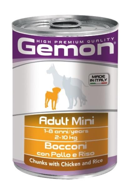 Консервы Gemon Dog Mini для собак мелких пород кусочки курицы с рисом 415 г70387873Гарантированный анализ: Сырой белок 8,5%, сырые масла и жиры 6,0%, сырая клетчатка 0,5%, сырая зола 2,7%, влажность 80%. Витамины и добавки/кг: витамин А 2500 МЕ, витамин D3 250 МЕ, витамин Е (альфа-токоферол ацетат) 10 мг.Состав: Мясо и мясные субпродукты 45% (курица 14%), злаки (рис 4,2%), яйца, минеральные вещества. Технологические добавки: загустители и желеобразующие компоненты. Подавать корм комнатной температуры или подогретый. Важно, чтобы животное всегда имело доступ к чистой, свежей воде. Взрослой кошке необходимо 400 г продукта в день, суточную норму разделить на 2-3 приема пищи. Условия хранения: в прохладном темном месте