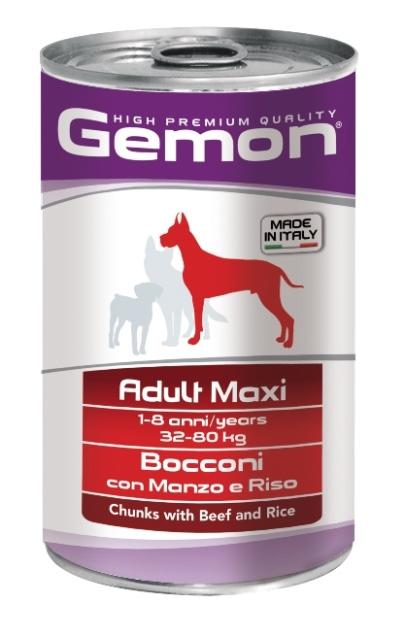 Консервы Gemon Dog Maxi для собак крупных пород кусочки говядины с рисом 1250 г70387903Гарантированный анализ: Сырой белок 8,5%, сырые масла и жиры 6%, сырая клетчатка 0,5%, сырая зола 2,7%, влажность 80%. Витамины и добавки/кг: витамин А 2500 МЕ, витамин D3 250 МЕ, витамин Е (альфа-токоферол ацетат) 10 мг. Мясо и мясные субпродукты 45% (говядина 5%), злаки (рис 4,2%), яйца, минеральные вещества. Технологические добавки: загустители и желеобразующие компоненты. Подавать корм комнатной температуры или подогретый. Важно, чтобы животное всегда имело доступ к чистой, свежей воде. Суточная норма для взрослых собак крупных пород (32-80 кг) составляет 1800-3700 г продукта, порция должна быть разделена на 2-3 приема пищи. Условия хранения: в прохладном темном месте