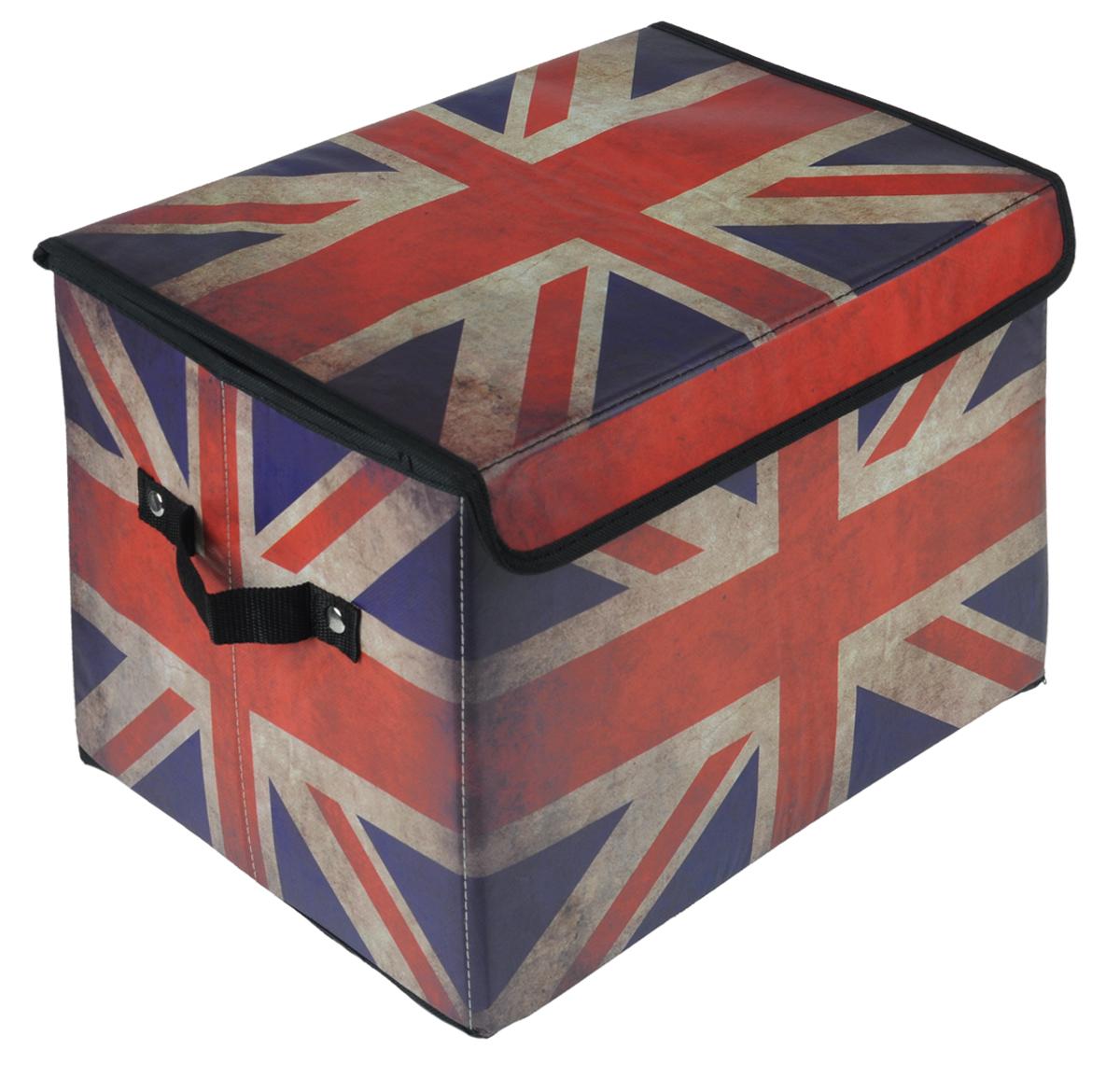 Кофр для хранения El Casa Британский флаг, складной, 39 см х 26 см х 26 см171143Складной кофр El Casa Британский флаг, выполненный из МДФ и экокожи, понравится всем ценителям оригинальных вещей. Благодаря удобной конструкции складывается и раскладывается одним движением. В сложенном виде изделие занимает минимум места, его легко хранить и перевозить. В таком кофре можно хранить всевозможные предметы: книги, игрушки, рукоделие. Яркий дизайн привнесет в ваш интерьер неповторимый шарм. Размер кофра (в собранном виде): 39 см х 26 см х 26 см.