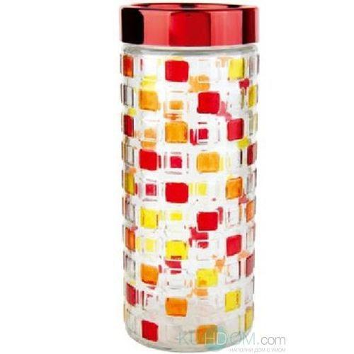 Банка для сыпучих продуктов Bohmann Мозаика, цвет: прозрачный, красный, желтый, 2,4 л01339BHGNEWБанка Bohmann Мозаика изготовлена из стекла. Емкость снабжена пластиковой крышкой, которая плотно закрывается, дольше сохраняя аромат и свежесть содержимого. Банка подходит для хранения сыпучих продуктов: круп, специй, сахара, соли. Такая банка станет полезным приобретением и пригодится на любой кухне. Диаметр (по верхнему краю): 10,5 см. Высота (без учета крышки): 27 см.