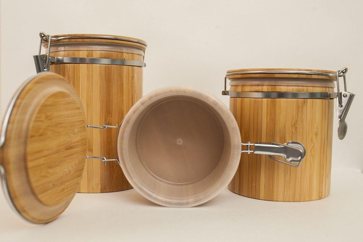 Банка для сыпучих и жидких продуктов, D13,5*15см, бамбук BRAVO154