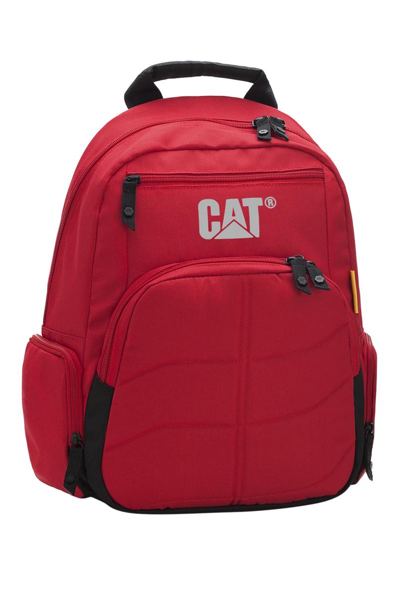 Рюкзак Caterpillar Brandon, цвет: красный, черный, 16 л80012-146Стильный рюкзак Caterpillar Brandon изготовлен из полиэстера. Рюкзак имеет одно основное отделение, которое закрывается на застежку-молнию с двумя бегунками. Внутри находится мягкий карман для ноутбука (13) с хлястиком на липучке. Снаружи, на передней стенке расположены прорезной карман на застежке-молнии и накладной карман на застежке-молнии, внутри которого находятся два открытых накладных кармана, два держателя для авторучки и текстильный ремешок с карабином для ключей. По бокам расположены дополнительные накладные карманы на застежках-молниях. Спинка дополнена мягкими сетчатыми вставками, обеспечивающими комфорт при переноске изделия и пропускающими воздух. Рюкзак оснащен удобными анатомическими лямками, которые регулируются по длине, и мягкой текстильной ручкой. Стильный рюкзак Caterpillar Brandon эффектно дополнит ваш яркий образ и станет незаменимым в повседневной жизни.