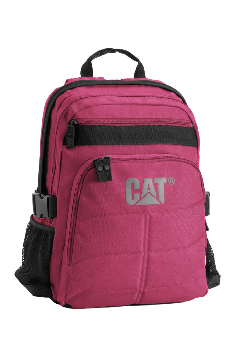 Рюкзак Caterpillar Brent, цвет: черный, фуксия, 22 л80013-174Стильный рюкзак Caterpillar Brent изготовлен из полиэстера. Рюкзак имеет два основных отделения, которые закрываются на застежки-молнии с двумя бегунками. Внутри одного из отделений находится мягкий карман для ноутбука (15,6), закрывающийся на хлястик с липучкой. Снаружи, на передней стенке расположен прорезной карман на застежке-молнии и накладной карман на застежке-молнии, внутри которого находится накладной открытый карман с отделением на застежке-молнии, сетчатый карман, два держателя для авторучек и текстильный ремешок с карабином для ключей. По бокам расположены сетчатые карманы на резинках для бутылок воды. Уплотненная спинка с сетчатыми вставками обеспечивает комфорт при переноске изделия. Рюкзак оснащен удобными широкими лямками с мягкой подкладкой, которые регулируются по длине, и текстильной ручкой. Лямки дополнены перемещаемым грудным ремнем, который регулируется по длине. По бокам изделие фиксируется на текстильные регулируемые ремни с пластиковыми защелками. ...