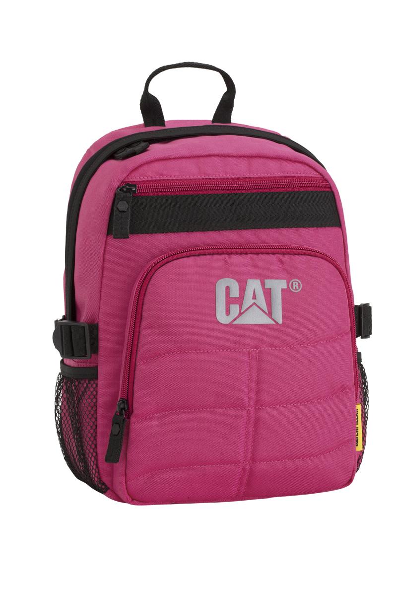 Рюкзак детский Caterpillar Brent, цвет: фуксия, черный, 9 л82931-174Стильный детский рюкзак Caterpillar Brent изготовлен из полиэстера. Рюкзак имеет одно основное отделение, которое закрывается на застежку-молнию с двумя бегунками. Снаружи, на передней стенке расположен прорезной карман на застежке-молнии и накладной карман на застежке-молнии. По бокам расположены сетчатые карманы на резинках для бутылок воды. Уплотненная спинка с сетчатыми вставками обеспечивает комфорт при переноске изделия. Рюкзак оснащен удобными широкими лямками с мягкой подкладкой, которые регулируются по длине, и текстильной ручкой. Лямки дополнены перемещаемым грудным ремнем, который регулируется по длине. По бокам изделие фиксируется на текстильные регулируемые ремни, пропущенные через пластиковые шлевки. Стильный рюкзак Caterpillar Brent непременно понравится вашему ребенку и станет незаменимым