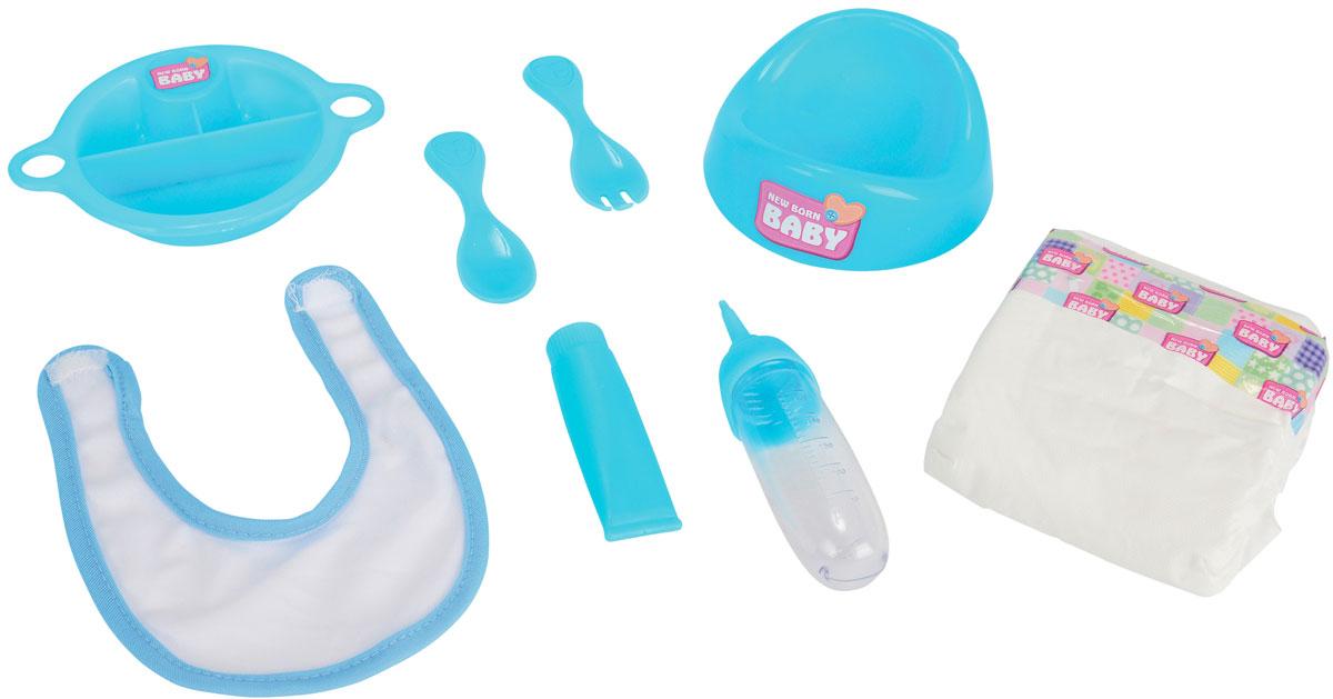 Simba Набор для кормления пупса New Born Baby цвет голубой5567210Набор для кормления пупса Simba New Born Baby предназначен для кукол от 30 до 43 см. Набор содержит 8 предметов: памперс, горшок, тарелочка, ложка, вилка, слюнявчик, бутылочка. Игры с куклами способствуют эмоциональному развитию, помогают формировать воображение и художественный вкус, а также разовьют в вашей малышке чувство ответственности и заботы. Великолепное качество исполнения делают эту куколку чудесным подарком к любому празднику. Набор сделает ролевые игры еще интересней! Рекомендуемый возраст: от 3-х лет.