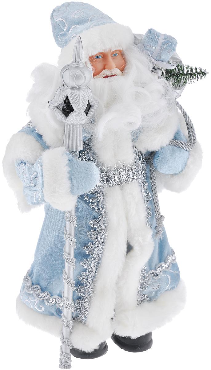 Новогодняя фигурка Феникс-презент Дед Мороз в голубом костюме, высота 30 см39098Новогодняя фигурка Феникс-презент Дед Мороз в голубом костюме прекрасно подойдет для оформления новогоднего интерьера и принесет с собой атмосферу радости и веселья. Дед Мороз одет в белые брюки и длинную голубую шубу с белой опушкой, украшенную серебристой тесьмой и пайетками. На голове - шапка с мехом в тон шубы, на ногах - черные башмачки. В руках он держит посох и мешок с подарками. Его добрый вид и очаровательная густая белая борода притягивают к себе восторженные взгляды. Коллекция декоративных украшений из серии Magic Time принесет в ваш дом ни с чем не сравнимое ощущение волшебства! Новогодние украшения всегда несут в себе волшебство и красоту праздника. Создайте в своем доме атмосферу тепла, веселья и радости, украшая его всей семьей. Высота фигурки: 30 см.
