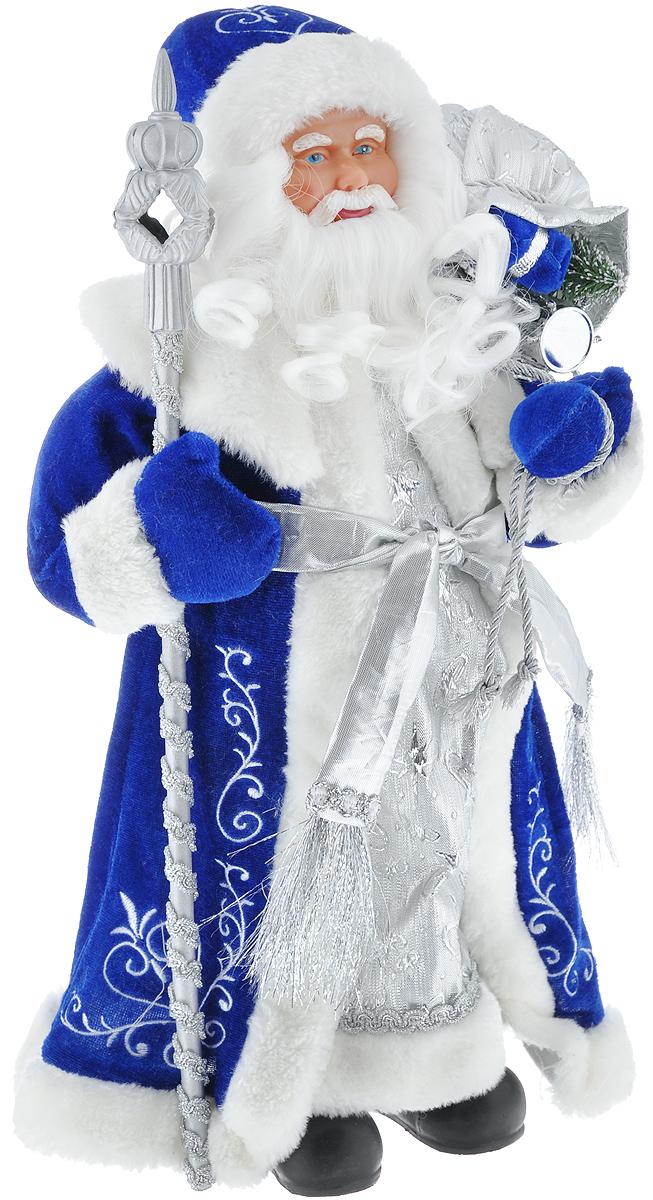 Новогодняя фигурка Феникс-презент Дед Мороз, цвет: белый, синий, серебристый, 41 см. 3909139091Декоративная фигурка Феникс-презент Дед Мороз изготовлена из пластика и ткани. Она подойдет для оформления новогоднего интерьера и принесет с собой атмосферу радости и веселья. Дед Мороз одет в белые брюки и длинную шубу с красивыми узорами, подвязанную ремешком с кисточками. На голове - шапка с мехом, на ногах - черные башмачки. В руках он держит посох и мешок с подарками. Его добрый вид и очаровательная густая, белая борода притягивают к себе восторженные взгляды. Коллекция декоративных украшений из серии Magic Time принесет в ваш дом ни с чем не сравнимое ощущение волшебства! Новогодние украшения всегда несут в себе волшебство и красоту праздника. Создайте в своем доме атмосферу тепла, веселья и радости, украшая его всей семьей. Высота фигурки: 41 см.