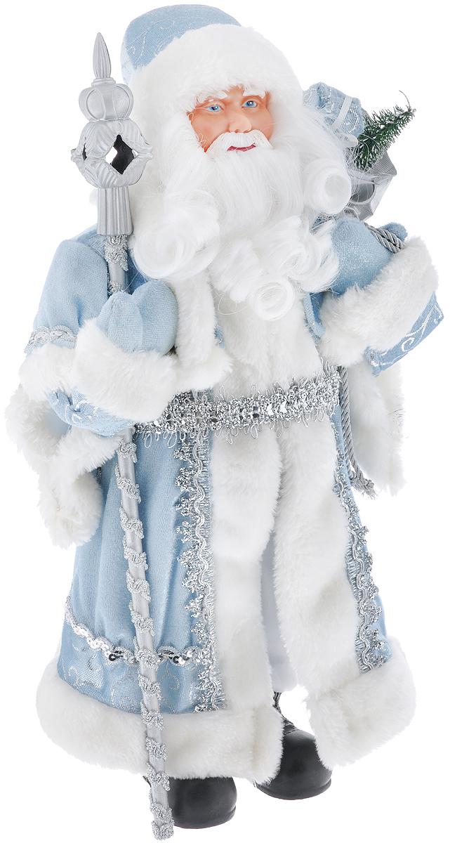 Новогодняя фигурка Феникс-презент Дед Мороз, цвет: белый, голубой, серебристый, 41 см. 3909239092Декоративная фигурка Феникс-презент Дед Мороз изготовлена из пластика и ткани. Она подойдет для оформления новогоднего интерьера и принесет с собой атмосферу радости и веселья. Дед Мороз одет в белые брюки и длинную шубу с красивыми узорами, подвязанную ремешком. На голове - шапка с мехом, на ногах - черные башмачки. В руках он держит посох и мешок с подарками. Его добрый вид и очаровательная густая, белая борода притягивают к себе восторженные взгляды. Коллекция декоративных украшений из серии Magic Time принесет в ваш дом ни с чем не сравнимое ощущение волшебства! Новогодние украшения всегда несут в себе волшебство и красоту праздника. Создайте в своем доме атмосферу тепла, веселья и радости, украшая его всей семьей. Высота фигурки: 41 см.