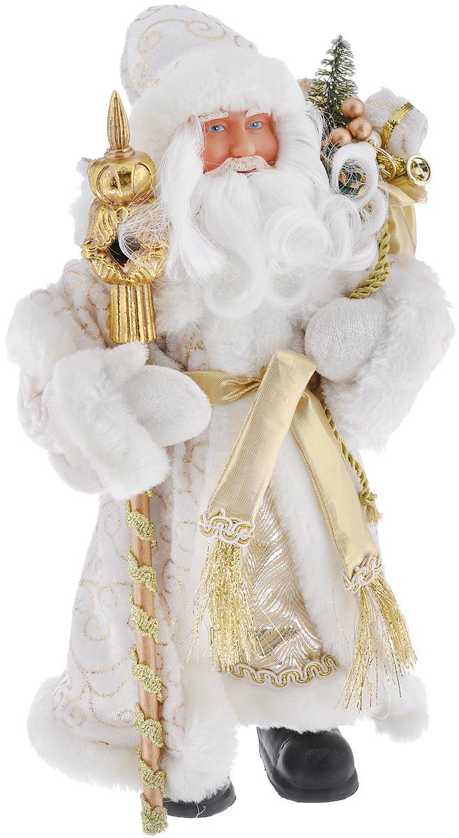 Новогодняя фигурка Феникс-презент Дед Мороз в золотом костюме, высота 30 см39099Новогодняя фигурка Феникс-презент Дед Мороз в золотом костюме прекрасно подойдет для оформления новогоднего интерьера и принесет с собой атмосферу радости и веселья. Дед Мороз одет в белые брюки и длинную золотую шубу с белой опушкой и поясом, украшенную золотистой тесьмой и красивыми узорами. На голове - шапка с мехом в тон шубы, на ногах - черные башмачки. В руках он держит посох и мешок с подарками. Его добрый вид и очаровательная густая белая борода притягивают к себе восторженные взгляды. Коллекция декоративных украшений из серии Magic Time принесет в ваш дом ни с чем не сравнимое ощущение волшебства! Новогодние украшения всегда несут в себе волшебство и красоту праздника. Создайте в своем доме атмосферу тепла, веселья и радости, украшая его всей семьей. Высота фигурки: 30 см.