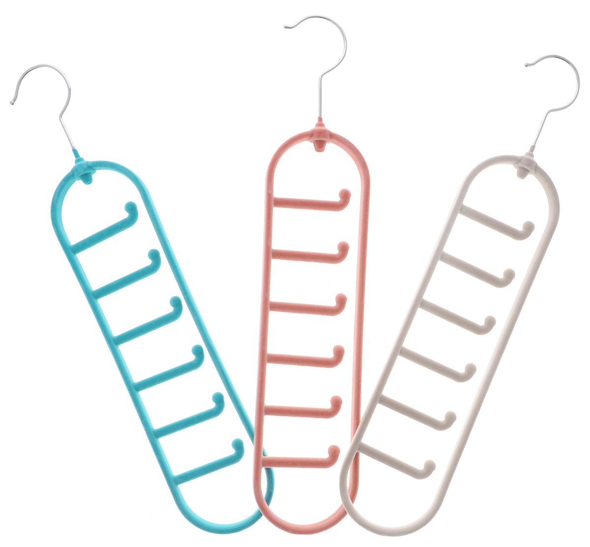 Набор вешалок для аксессуаров El Casa, цвет: бирюзовый, темно-розовый, светло-серый, 3 шт150051Набор разноцветных вешалок El Casa, изготовленный из пластика, имеет велюровое антискользящее покрытие. Благодаря легкому и прочному каркасу изделия идеально подходят для галстуков и ремней. Вешалка - это незаменимая вещь для того, чтобы ваша одежда всегда оставалась в хорошем состоянии. Комплектация: 3 шт. Размер вешалки: 41 см х 8 см х 1,5 см.