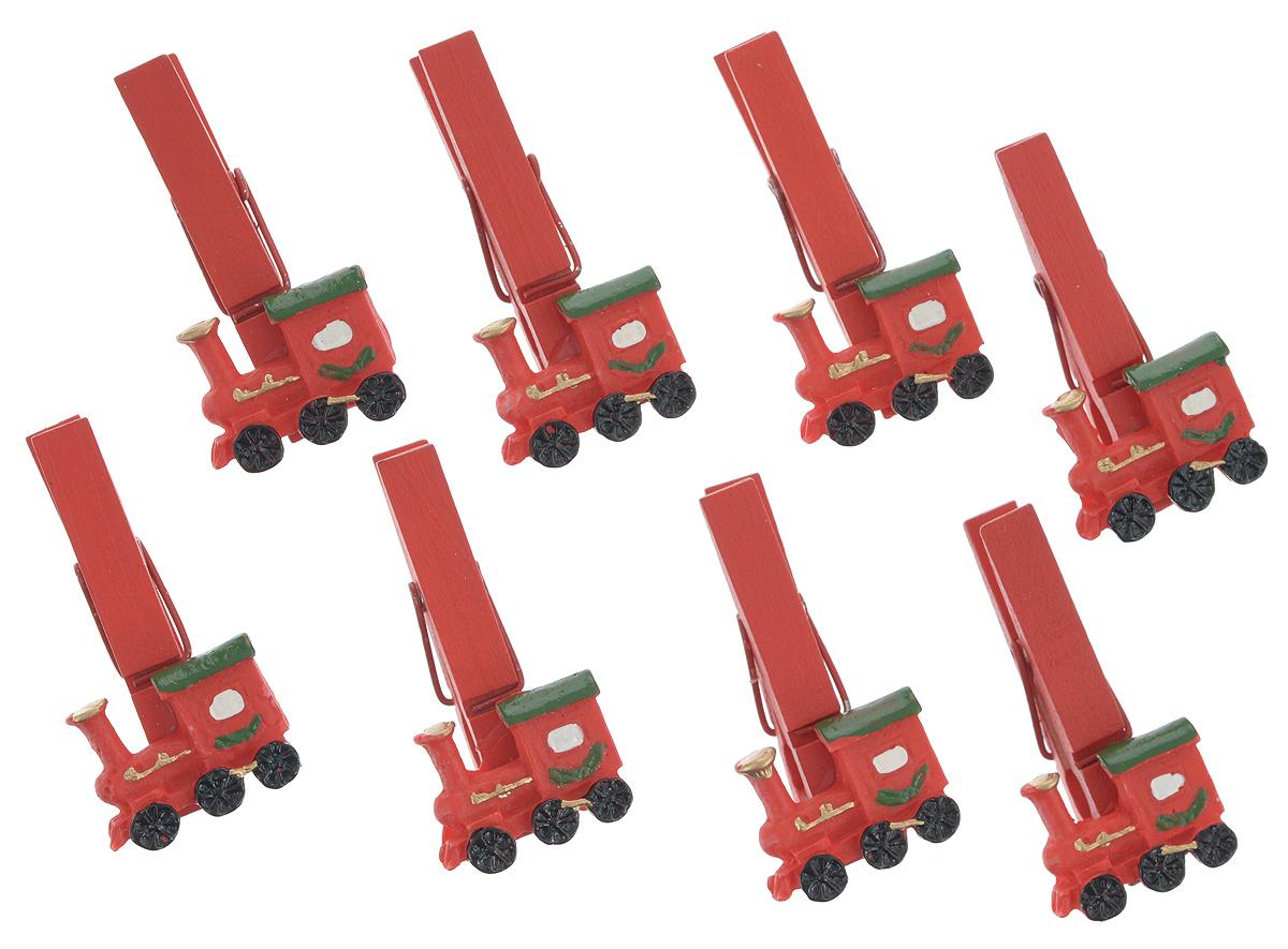 Набор декоративных прищепок Феникс-Презент Поезда, 8 шт34362Набор Феникс-Презент Поезда состоит из 8 декоративных прищепок, выполненных из дерева. Прищепки оформлены декоративными фигурками из полирезины в виде красных паровозиков. Изделия используются для развешивания стикеров на веревке, маленьких игрушек, а оригинальность и веселые цвета прищепок будут радовать глаз и поднимут настроение. Размер прищепки: 4,5 см х 1,5 см х 2 см.