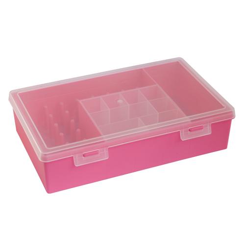 Коробка для мелочей 280х185х70 мм, с вкладышем и катушкодержателями 2868, цвет: розовый688156