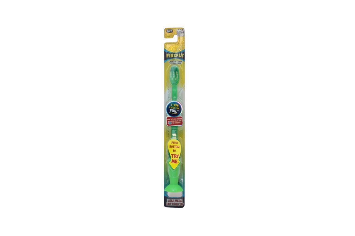Roxy-kids Зубная щетка Firefly с мигающим световым таймером с присоской03-00-40966-48Зубная щетка Firefly с мигающим таймером внесет элемент развлечения в каждодневные гигиенические процедуры. Таймер мигает ровно одну минуту - именно это время необходимо для чистки зубов. Зубная щетка Firefly предназначена специально для детей, а потому ее нейлоновые щетинки особенно мягкие. Они не поранят нежные десны крохи и бережно очистят зубки. Ручка с противоскользящей поверхностью сделает чистку зубов не только увлекательным и полезным, но и удобным процессом. Щетка удобно крепится к раковине с помощью присоски. В упаковке 1 штука.