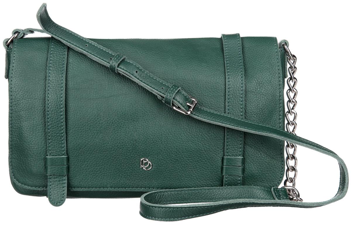 Сумка женская Pimobetti, цвет: темно-зеленый. 13535BL1-W213535BL1-W2Элегантная женская сумка Pimobetti выполнена из натуральной кожи с зернистой фактурой. Изделие оформлено металлической фурнитурой. Сумка закрывается на две магнитные кнопки. Внутри расположен врезной карман на молнии и накладной карман для телефона или мелочей. Сумка оснащена практичным плечевым ремнем с вставкой из цепочки, длина которого регулируется при помощи пряжки. Стильная сумка Pimobetti прекрасно дополнит ваш образ.