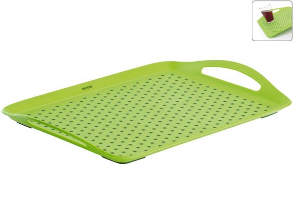 Поднос сервировочный Nadoba Jaska, 45 х 32 см . 718110718110Высококачественный прочный пластик. Специальная резиновые вставки обеспечивают противоскользящие свойства поверхности подноса и препятствуют соскальзыванию с него предметов. Удобные ручки. Гарантия 5 лет.